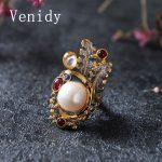 Venidy Female Baroque Pearl <b>Ring</b> Fashion White &Purple Crown Pearls Jewelry Vintage Wedding <b>Rings</b> For Women Birthday Stone Gifts