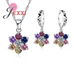 Exquisite Multi Color Cubic Zirconia Flower Pendant Necklace Crystal Drop Piercing <b>Earrings</b> 925 <b>Sterling</b> Sivler Jewelry Sets
