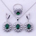 Astonishing Green Imitation Emerald & White AAA Zircon 925 <b>Sterling</b> <b>Silver</b> Jewelry Sets For Women Fashion Jewelry J0039