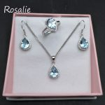 Rosalie,11.5ct natural Brazil blue topaz gemstone 925 <b>sterling</b> <b>silver</b> jewelry set ring pendant <b>earring</b> best gift for women