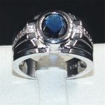 choucong Jewelry Men's 925 <b>Sterling</b> <b>Silver</b> Ellipse Blue AAAAA Zircon Stone <b>ring</b> Engagement Wedding Bands boys Size 8-13 gift