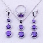 Charming Purple Crystal Cubic Zircon 925 <b>Sterling</b> <b>Silver</b> Jewelry Sets For Women Party Fashion Jewelry Free Gift Box J0019