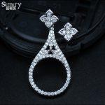 SIMIRY Fashion Punk Style <b>Sterling</b> SilverJewelry Flower Design Asymmetric <b>Earrings</b> Girls Gift