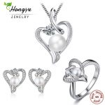 Hongye Romantic Heart <b>Sterling</b> <b>Silver</b> Jewelry Set Pearl Necklace & Earring&<b>Ring</b> For Women Girl Friend Wife Valentine's Day Gift
