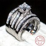 Luxury 100% Real Solid 925 <b>Sterling</b> <b>Silver</b> Princess-cut Diamant stone CZ <b>Rings</b> sets 3-in-1 Wedding Bands <b>Ring</b> finger For Women
