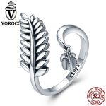 VOROCO Pure 100% 925 <b>Sterling</b> <b>Silver</b> Open <b>Ring</b> Cute Leaf Adjustable <b>Rings</b> For Women Engagement Wedding Fine Jewelry Gift VSR093