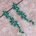 Perfect Green Cubic Zirconia 925 <b>Sterling</b> <b>Silver</b> Drop Dangle <b>Earrings</b> For Women S0201