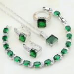 925 <b>Sterling</b> <b>Silver</b> Jewelry Green Cubic Zirconia White CZ Jewelry Sets For Women Wedding <b>Ring</b>/Earring/Pendant/Necklace/Bracelet