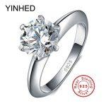 90% Off ! YINHED 100% 925 <b>Sterling</b> <b>Silver</b> Wedding <b>Rings</b> for Women Luxury 2 Carat SONA CZ Diamant Engagement <b>Ring</b> Set ZR139
