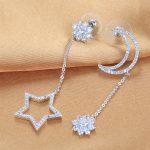 Lingdong fashion brand 2017 925 <b>silver</b> dangling <b>earring</b> moon & star series Micro mosaic personal creative gift free shipping