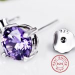 BeBe Kitty New 4 Claws 925 <b>Sterling</b> <b>Silver</b> 6MM Purple Clear Stone Stud <b>Earrings</b> Simple High Quality Fine Crystal Women <b>Earring</b>