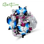 SANTUZZA <b>Silver</b> <b>Ring</b> For Women 925 <b>Sterling</b> <b>Silver</b> Glamorous Butterflies Shiny Cubic Zirconia <b>Ring</b> Fashion Jewelry Enamel