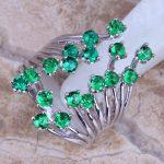 Unique Green Cubic Zirconia 925 <b>Sterling</b> <b>Silver</b> <b>Ring</b> For Women Size 5 / 6 / 7 / 8 / 9 / 10 / 11 / 12 S0222