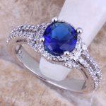 Terrific Blue Cubic Zirconia White CZ 925 <b>Sterling</b> <b>Silver</b> <b>Ring</b> For Women Size 5 / 6 / 7 / 8 / 9 / 10 / 11 / 12 S0441