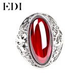 EDI Retro Vintage 925 <b>Sterling</b> <b>Silver</b> <b>Ring</b> With Female Boule Corundum For Women Fashion <b>Ring</b> Finger Fine Jewelry For Women