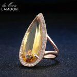 LAMOON Luxury Waterdrop Natural Gemstone Citrine <b>Rings</b> 925 <b>Sterling</b> <b>Silver</b> Rose Fine Jewelry For Women