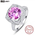 JQUEEN 6.5 Ct Pink Topaz 925 <b>Sterling</b> <b>Silver</b> <b>Rings</b> Round Cut Flower Design Wedding Engagement Jewelry For Women with Gift Box