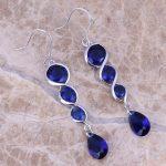 Fancy Blue Cubic Zirconia 925 <b>Sterling</b> <b>Silver</b> Drop Dangle <b>Earrings</b> For Women S0209