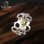 Lotus Fun <b>Silver</b> <b>Rings</b> for Women Adjustable 925 <b>Sterling</b> <b>Silver</b> <b>Ring</b> Minimalistic Honeycomb Bee Fine Jewelry Dropshipping