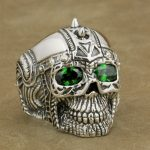 LINSION 925 <b>Sterling</b> <b>Silver</b> Gothic Tattoo Skull <b>Ring</b> Green CZ Eyes Mens Biker Rock Punk Style 9G505 US Size 7 to 14