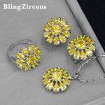 BlingZircons 3 Pcs Women Yellow Cubic Zircon Sunflower Drop Pendant Necklace Earring <b>Ring</b> 925 <b>Sterling</b> <b>Silver</b> Jewelry Sets JS007