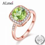 Almei Green Natural Stone Rose Gold Color Wedding <b>Rings</b> Peridot <b>Silver</b> 925 Original Jewelry for Women with Gift Box 40% FJ019