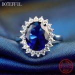 Flower Love <b>Rings</b> 100% <b>Sterling</b> <b>Silver</b> for Women Party Wedding 10mm Blue Zircon <b>Rings</b> Fashion Charm <b>Rings</b> Jewelry