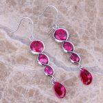 Exquisite Red Cubic Zirconia 925 <b>Sterling</b> <b>Silver</b> Drop Dangle <b>Earrings</b> For Women S0210