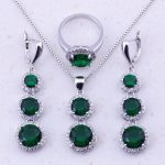 Attractive Green Imitation Emerald White CZ 925 <b>Sterling</b> <b>Silver</b> Jewelry Sets For Women Trend Fashion Jewelry Free Shipping J0022
