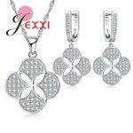 JEXXI New Finding Flower Brand Jewelry Set Round Cut Real 925 <b>Sterling</b> <b>Silver</b> Jewelry Necklace <b>Earrings</b> Sets for Women Zircon Bi