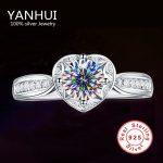 90% OFF!!! Fine Jewelry Real Solid 925 <b>Sterling</b> <b>Silver</b> <b>Rings</b> Romantic Heart Shape Inlay 1CT CZ Diamant Wedding <b>Rings</b> For Women