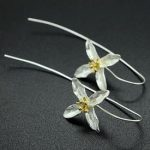 2016 New arrival trendy promotion gift long flower 925 <b>sterling</b> <b>silver</b> female <b>earrings</b> jewelry wholesale jewelry Valentines Gift