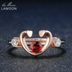 LAMOON Womens <b>Rings</b> Unique Love Heart Red Garnet Natural Gemstone 925 <b>Sterling</b> <b>Silver</b> Rose Trendy Fine Jewelry