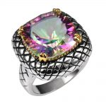 Huge Rose Rainbow Crystal Zircon 925 <b>Sterling</b> <b>Silver</b> <b>Ring</b> Factory Price For Women and Men Size 6 7 8 9 10 11 F1514