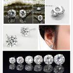 8mm 925 <b>Sterling</b> <b>Silver</b> Clear Round Cubic Zirconia Stud <b>Earrings</b> Men/Women