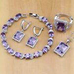 925 <b>Sterling</b> <b>Silver</b> Jewelry Purple CZ White Zircon Jewelry Sets For Women Earrings/Pendant/Necklace/<b>Rings</b>/Bracelet
