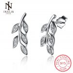 INALIS Fashion Jewelry 925 <b>Sterling</b> <b>Silver</b> Leaf Olive branch Stud <b>Earrings</b> for Woman Elegant Cute <b>Earrings</b>