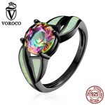 VOROCO Genuine 100% Authentic 925 <b>Sterling</b> <b>Silver</b> <b>Rings</b> Luxury Glass & Opal Gemstone Finger Black <b>Ring</b> for Women Jewelry VSR065