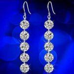 2016 new arrival super shiny big zircon fashion 925 <b>sterling</b> <b>silver</b> female drop <b>earrings</b> factory price