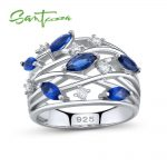 SANTUZZA <b>Silver</b> <b>Ring</b> For Women 925 <b>Sterling</b> <b>Silver</b> Delicate Blue Crystals <b>Rings</b> Eternity Wedding <b>Ring</b> Party Fashion Jewelry