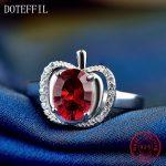 Classic Red Apple Zircon <b>Ring</b> 100% <b>Sterling</b> <b>Silver</b> <b>Rings</b> Woman Luxury 925 <b>Silver</b> Jewelry <b>Ring</b>