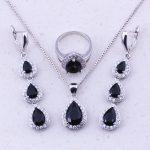 Pleasant Black Imitation Crystal White CZ 925 <b>Sterling</b> <b>Silver</b> Water Drop Jewelry Sets For Women Trendy Fashion Jewelry J0024