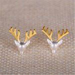 RONGQING 1Pair/lot 925 <b>Sterling</b> <b>Silver</b> Elk Stud <b>Earring</b> Fashion Unique Design Deer Antlers <b>Earrings</b> for Women Lucy Gifts