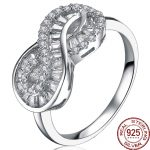 Aceworks Infinity Shape Real 100% 925 <b>Sterling</b> <b>Silver</b> Cubic Zircon <b>Rings</b> Women Girl Engagement Party Jewelry Brand Design