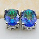 Rose Rainbow Crystal Zircon 925 <b>Sterling</b> <b>Silver</b> Stud <b>Earrings</b> PE08 This item Min order is $10