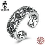 VOROCO Retro Style Stars <b>Sterling</b> <b>Silver</b> 925 <b>Rings</b> 8mm Black Zirconia Party Adjustable Open Cuff <b>Ring</b> for Women Jewelry