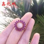 Fashion and personality flowers form 925 <b>silver</b> inlaid natural ruby <b>ring</b> female 2 x4 mm horse item on sale