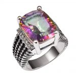 Huge Rose Rainbow Crystal Zircon With Multi White Crystal Zircon 925 <b>Sterling</b> <b>Silver</b> <b>Ring</b> and Men Size 6 7 8 9 10 11 F1511