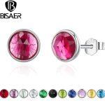 Bijoux 100% 925 <b>Sterling</b> <b>Silver</b> Birthstone Droplets Forever Circle Small Stud <b>Earrings</b> Women <b>Sterling</b> <b>Silver</b> Jewelry brincos