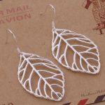 AE423 925 Jewelry <b>Silver</b> Plated Wholesale , Free Shipping <b>Earrings</b> for women , big leaf /aymajpta aqxajiea